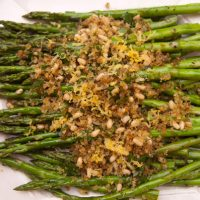 Roasted Asparagus With Anchovy Lemon Crumb Topping