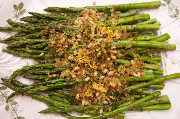 Tender asparagus spears are roasted and topped with a savory crumb topping.