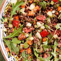 Lentil Salad With Diced Veggies & Mint Ginger Dressing