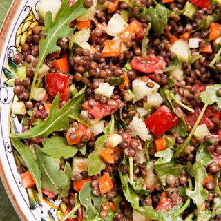 Lentil Salad With Diced Veggies & Mint Ginger Dressing