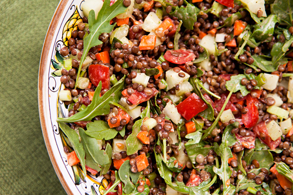 Hearty, nutritional lentils are paired with diced veggies in this complete meal in a bowl.