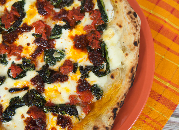 Pizza With Kale Nduja Tomatoes Amp Robiola Cheese Italian Food Forever