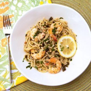 Spaghetti With Fried Capers, Anchovies, & Shrimps
