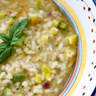 Summer Risotto With Zucchini, Zucchini Flowers & Pesto