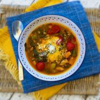 Summer Garden Minestrone With Fresh Borlotti Beans & Farro