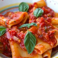 Paccheri With Fresh & Canned Tomato Sauce