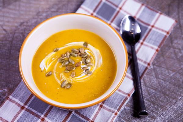 This creamy soup flavored with sweet potatoes is enhanced with tumeric, cinnamon and ginger to turn it into an immune booster.