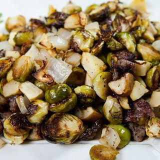 Brussels Sprouts With Apples & Sausage Crumbles