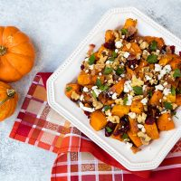 Roasted Butternut Squash With Dried Cranberries, Walnuts, and Gorgonzola Crumbles