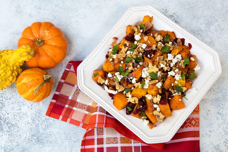 Sweet roasted squash is combined with tangy Gorgonzola cheese in this vibrant veggie side.