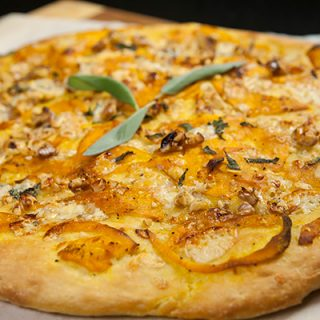 Focaccia With Squash Ribbons, Walnuts, & Gorgonzola Crumbles