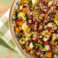 New Year's Lentil & Farro Salad With Roasted Sweet Potato & Brussels Sprouts