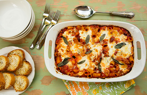 Cheesey, creamy ricoota cheese pockets dot this baked pasta dish.