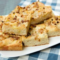 Focaccia With Caramelized Onions, Pear, & Gorgonzola Cheese