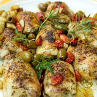 Roast Chicken Thighs with Olives, Tomatoes, & Potatoes