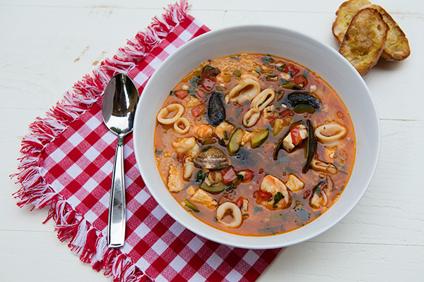 This Sicilian seafood soup is made hearty with the addition of couscous.