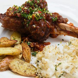 Lamb Shanks Braised With Red Wine & Rosemary