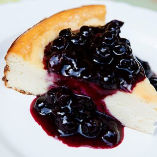 Lemon Ricotta Cheesecake With Blueberry Sauce