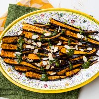 Caramelized Roasted Carrots With Parsley Almond Pesto
