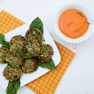 Farro Zucchini Cakes With Roasted Red Pepper Sauce