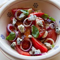 Tomato, Onion, & Gorgonzola Cheese Salad