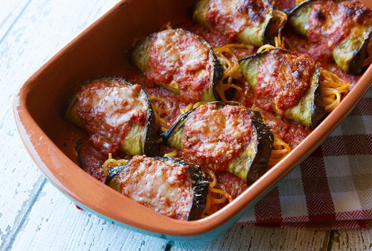 A Sicilian style preparation of stuffed eggplant.