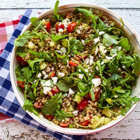 Farro Salad With Tomatoes, Cucumbers, Arugula, & Feta Cheese