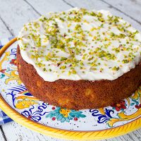 Peach Pistachio Cake With Cream Cheese Frosting