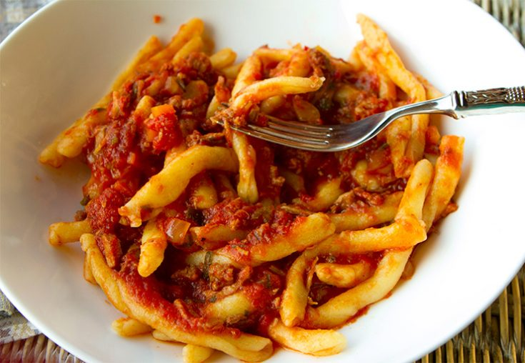 A traditional, meaty Italian pasta sauce prepared in the slow cooker.