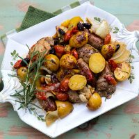Skillet Roasted Chicken, Potatoes, & Sausages