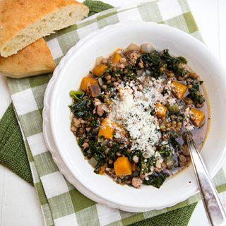 Butternut Squash, Kale, Sausage & Lentil Soup