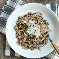 Farro Pasta With In A Creamy Thyme Sauce With Mushrooms & Sausage