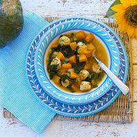 Pumpkin & Kale Soup With Turkey Meatballs