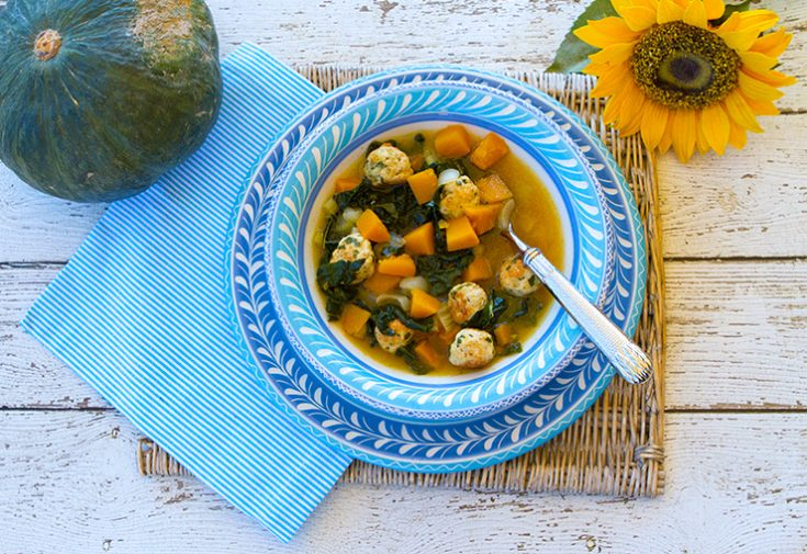 Adding turkey meatballs turn a soup into a hearty main course in a bowl.