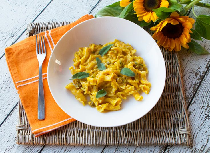 A creamy pasta dish made with kabocha squash and mascarpone cheese.