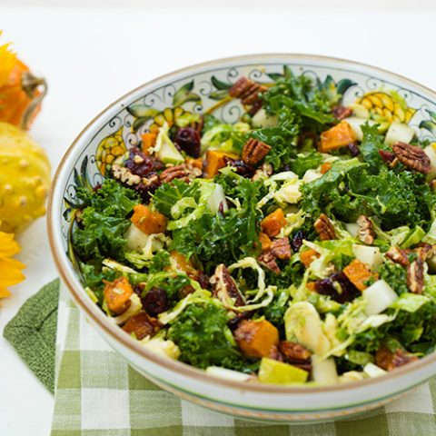 Fall Harvest Salad With Butternut Squash, Kale, Apples, & Cranberries