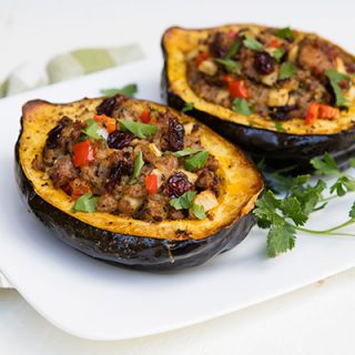 Sausage, Cranberry, & Apple Stuffed Acorn Squash