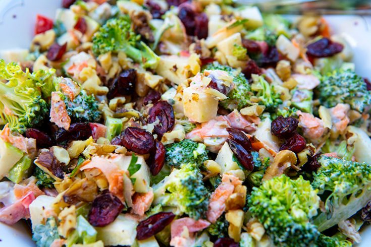 This crunchy, raw salad is dressed in a creamy, vibrant dressing.