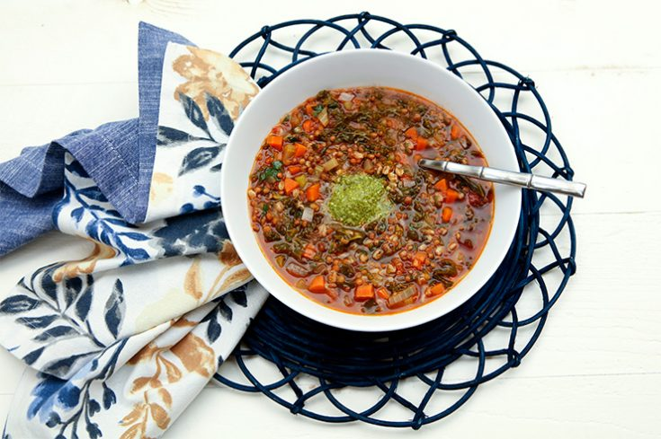 A hearty lentil soup made to bring in the New Year.