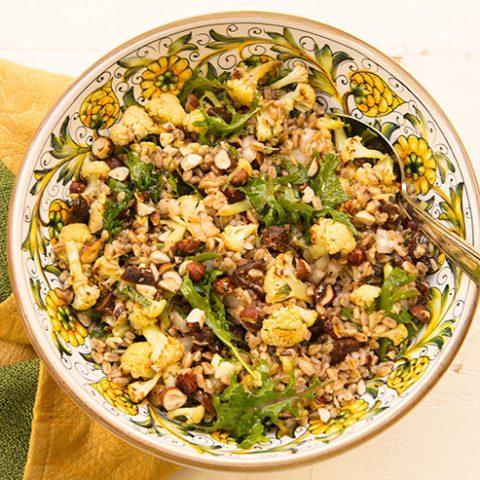 Roasted Cauliflower, Dried Figs, & Hazelnut Farro Salad