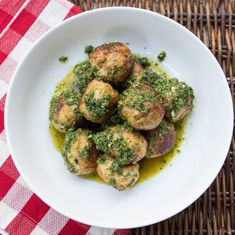 Turkey Ricotta Meatballs With Salsa Verde
