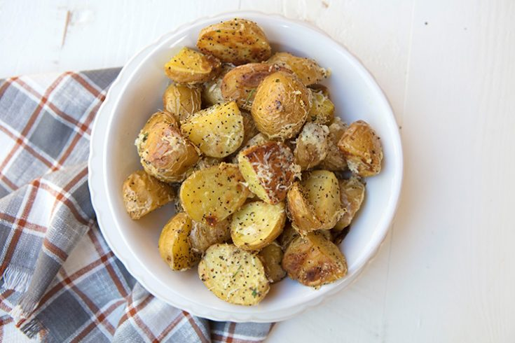 These tasty potatoes are tossed in cheese and black pepper to mimic the traditional pasta dish.