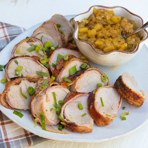 Bacon Wrapped Pork Tenderloin With Apple Onion Relish