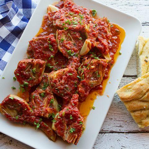 Braised Artichokes In Tomato Sauce