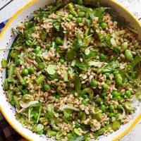 Spring Farro Salad With Fava Beans, Asparagus, & Peas