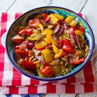 Sweet & Sour Peppers With Raisins & Capers {Peperonata Agrodolce}