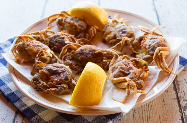 Soft shell crabs cooked in Venetian fashion.