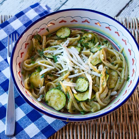 Pasta With Zucchini Pistachio Pesto