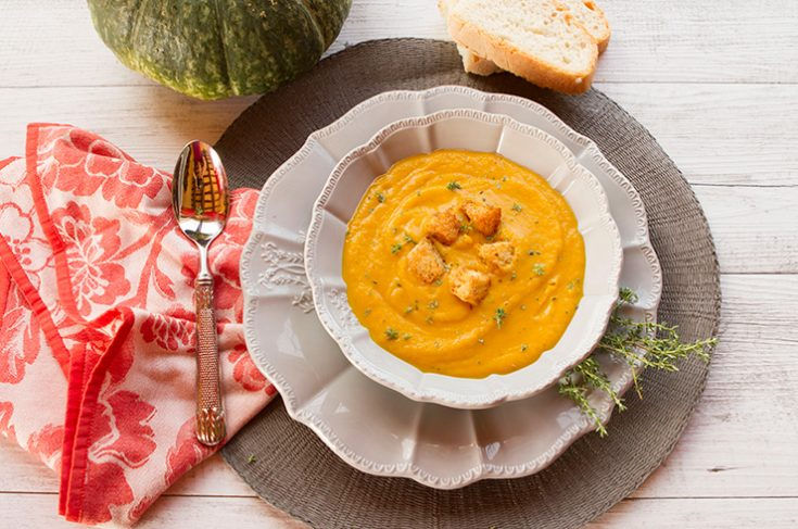 A creamy squash based soup that would be a perfect option for fall entertaining.
