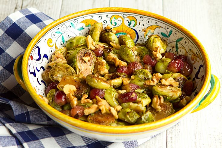 Sweet grapes, nutty walnuts, and caramelized Brussels sprouts are a great holiday side dish combination.